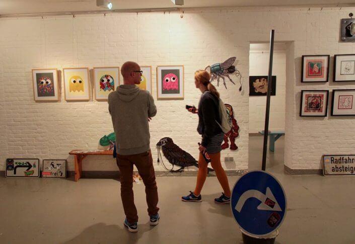 Straßengold: Arbeiten von Pdot und Einsa CE, Straßengold II, Kulturbunker Mülheimer, 2016, Foto: artkissed