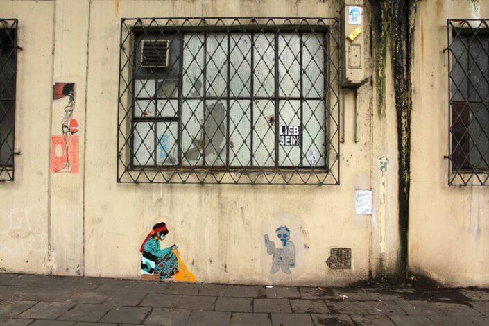 Straßengold: Arbeiten von TUK, Leo-Leander Namislov, Make8 u.a., Mülheimer Brücke, 2016, Foto: artkissed
