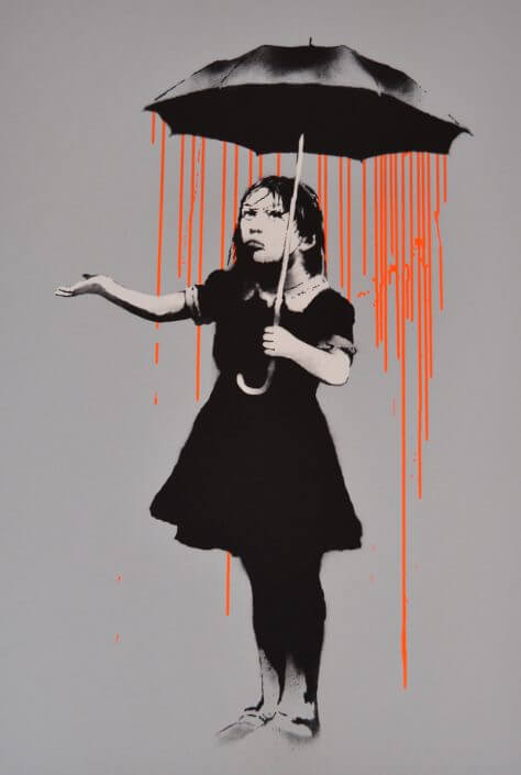 Banksy - Nola, Dark Orange to Orange Rain, AP signed (2008) - Galerie Kronsbein