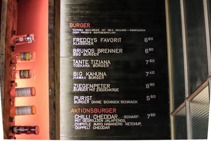 Freddy Schilling, Burgermenü