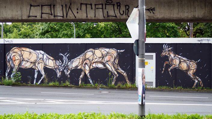 Dzia, Mural zu CityLeaks 2015, Parkgürtel, 2015, Foto: Robert Winter