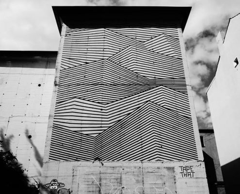 Tape Art am Bunker von Stefan Busch