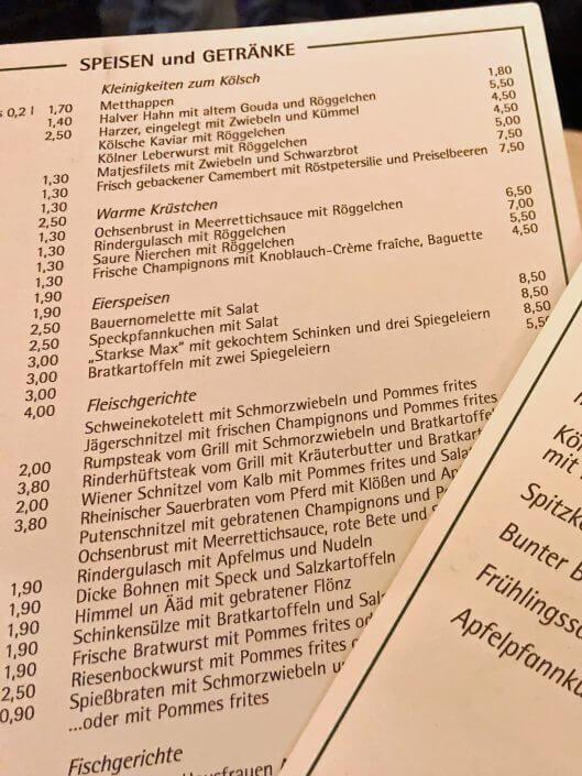Speisekarte der Gaststätte Max Stark