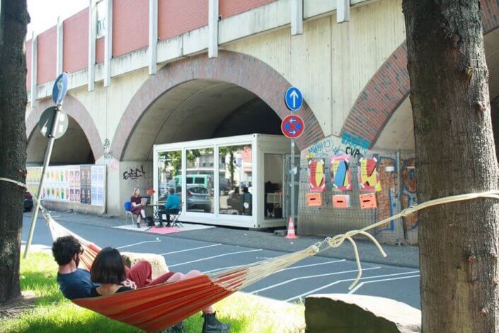 CityLeaks Urban Art Festival 2019 - Bahnbogen mit Transurban Container, Hüttenstraße, Juni 2019