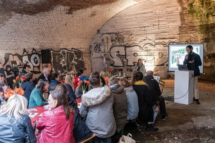 CityLeaks Urban Art Festival 2019 - Entwurfspräsentation im Bahnbogen, Hüttenstraße, Mai 2019