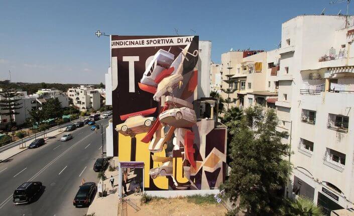 "CityLeaks Urban Art Festival 2019 - ""Un temps suspendu"", Mural von Zoer, Rabat, Marokko"